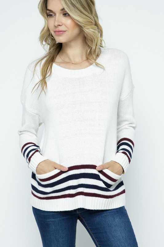 STRIPPED TUNIC PULLOVER SWEATER