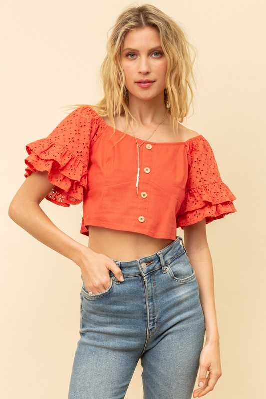 EYELET SLEEVE CROP TOP