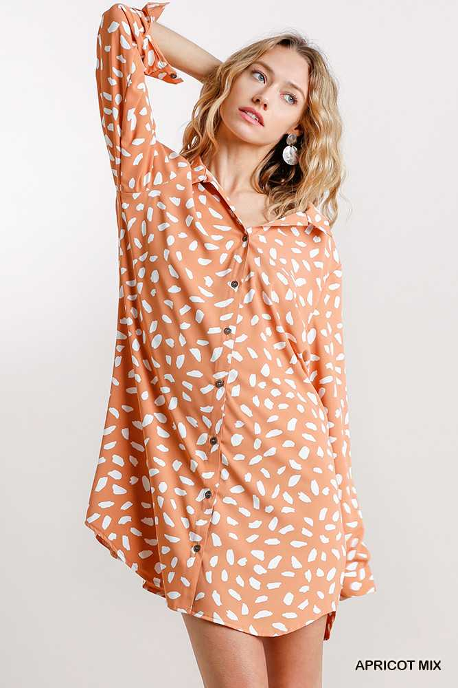 Dalmatian Button Down Collar Shirt Dress