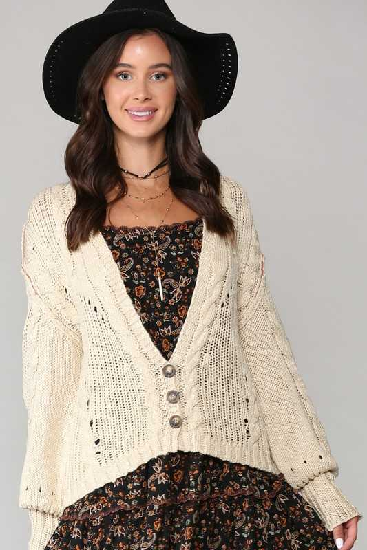 DEEP V-NECK AND BUTTON-FRONT CARDIGAN