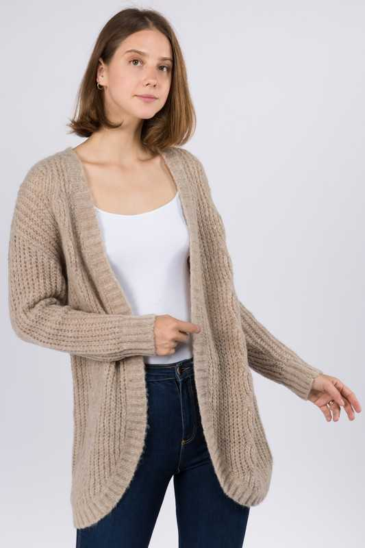 SOLID SWEATER OPEN CARDIGAN