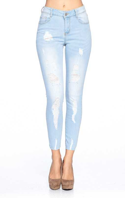 DESTROYED RIPPED SKINNY JEANS WITH RAW HEM