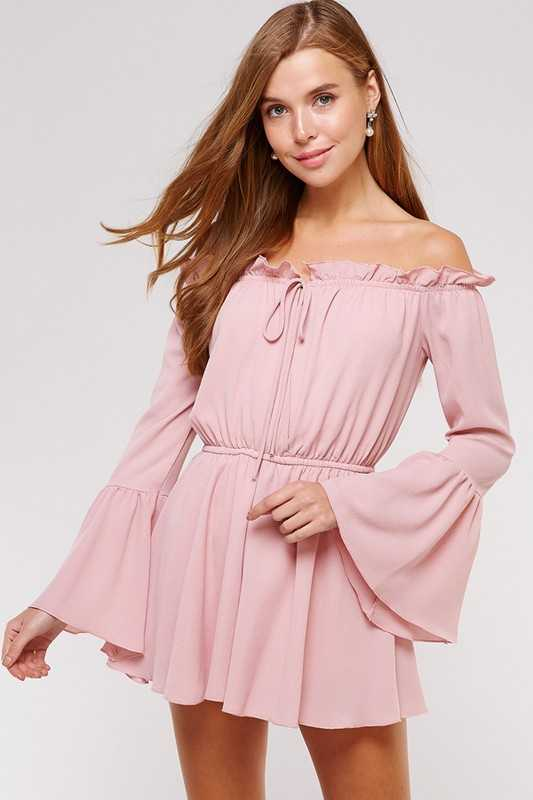 Off Shoulder Flare Sleeve Ruffle Romper