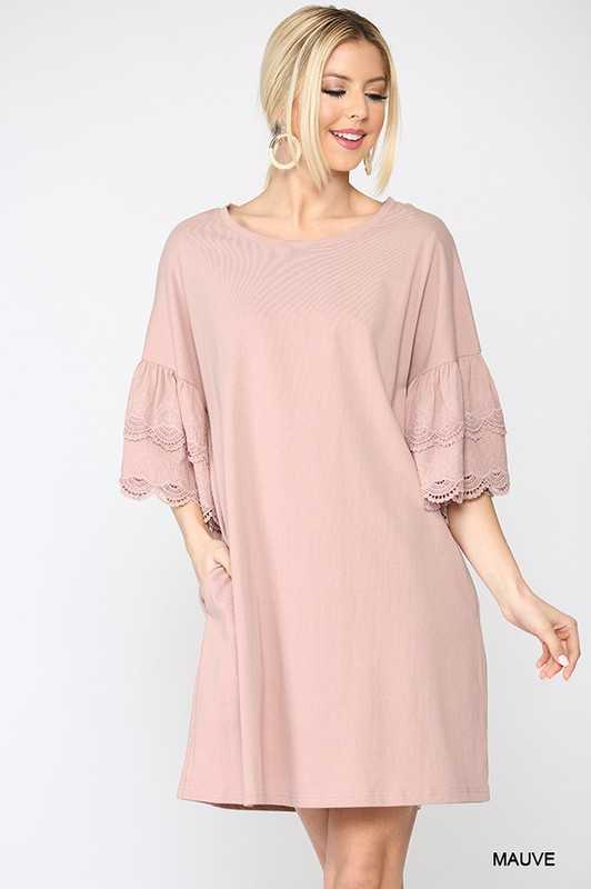 Solid Round Neck Shift Dress
