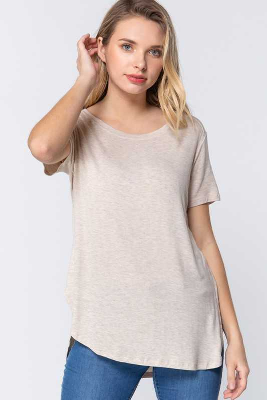 CURVED HEM RAYON SPANDEX JERSEY TOP
