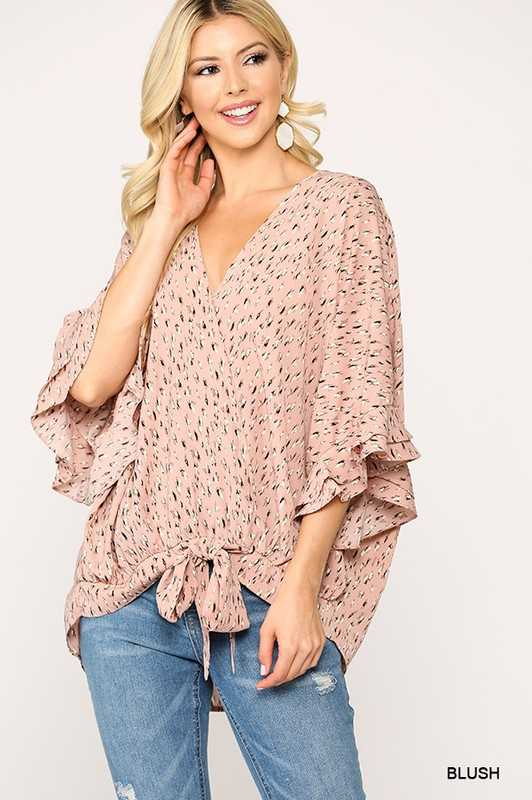 Printed Front Tie Ruffled Sleeve Top