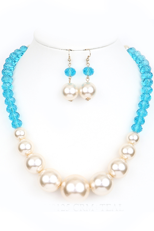 BEAD&PEARLESCENT NECKLACE/EARRING SET