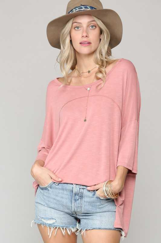 SOLID OVERSIZED FLARED BOXY TOP