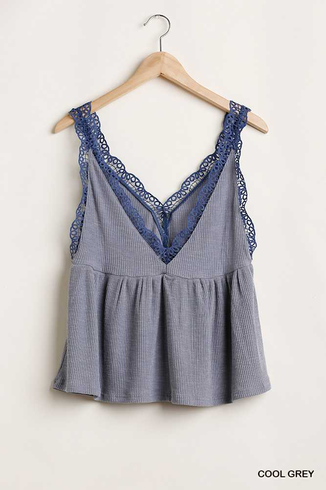 Sleeveless V Neck Top with Crochet Details
