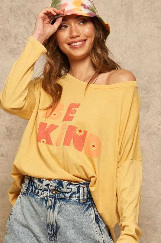 Be Kind Vintage Washed Long-Sleeve Graphic Tee