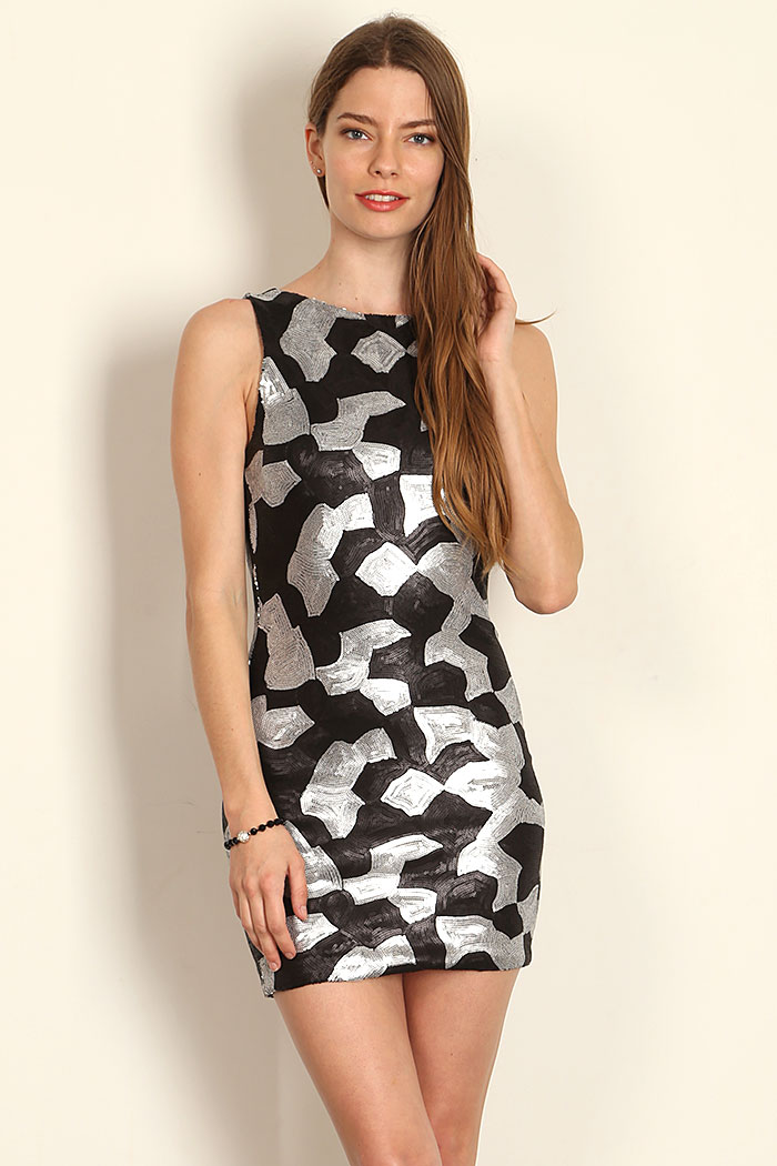 ABSTRACT PATTERN SEQUINED BODYCON DRESS