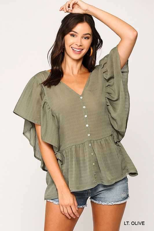 Textured Button Down Back Tie Babydoll Top