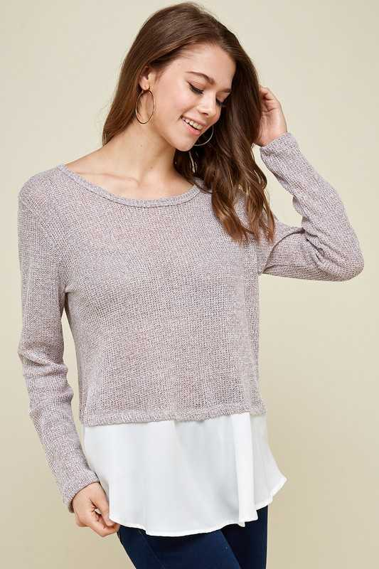 Melange Long Sleeve Knit Top With Contrast Detail
