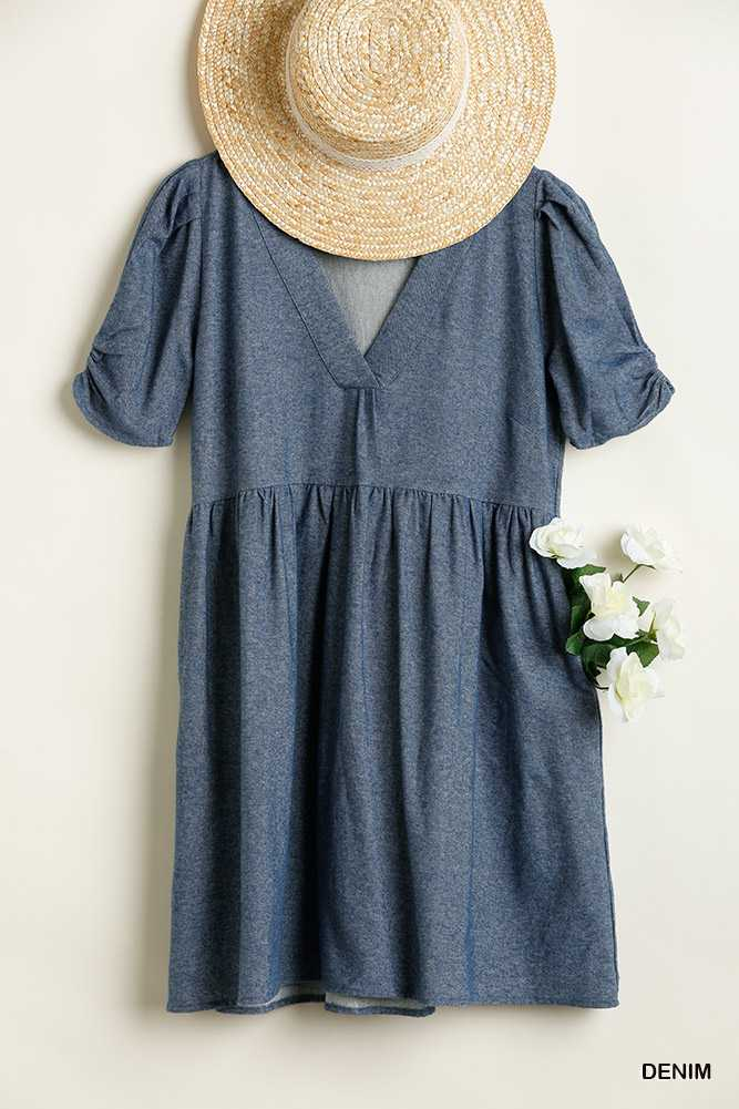 V Neck Dress with Babydoll Fit