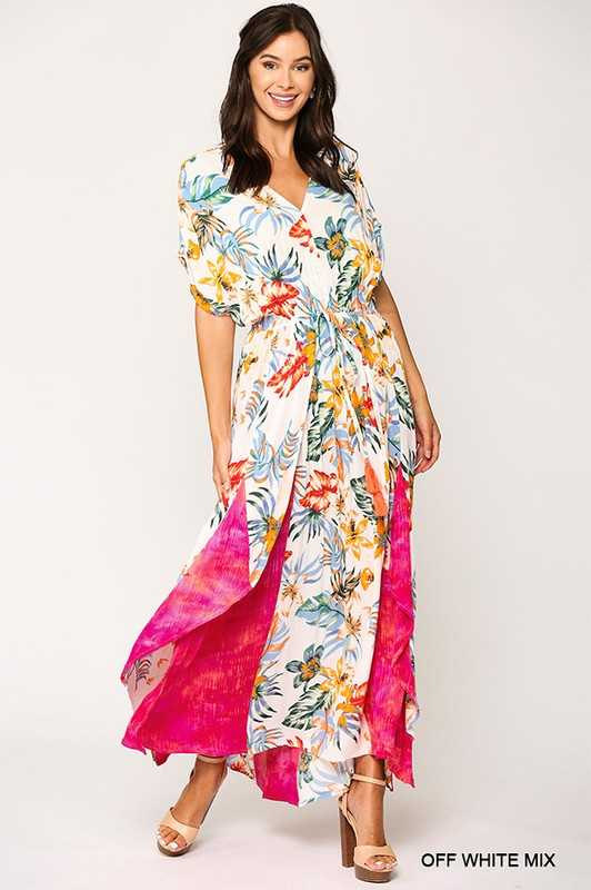 Floral and Tie Dye Print Elastic Waist Maxi Dress