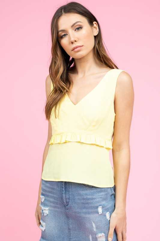 SLEEVELESS V-NECK WAIST RUFFLE TOP