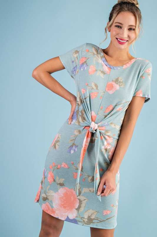 FRENCH TERRY FLORAL PRINT SELF TIE SHIFT DRESS