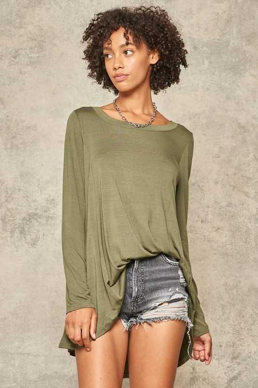 Knit Long-Sleeve Loose-Fit Tunic Top