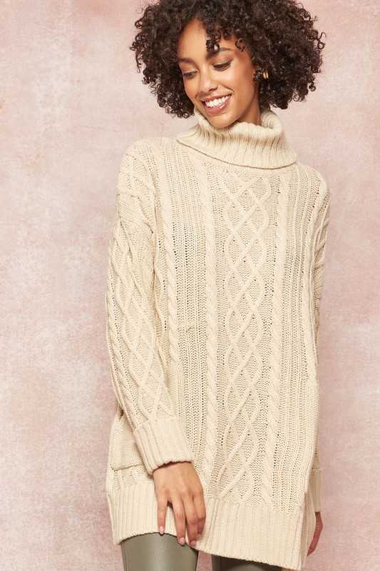 Cable Knit Cowl-Neck Tunic Sweater with Pockets