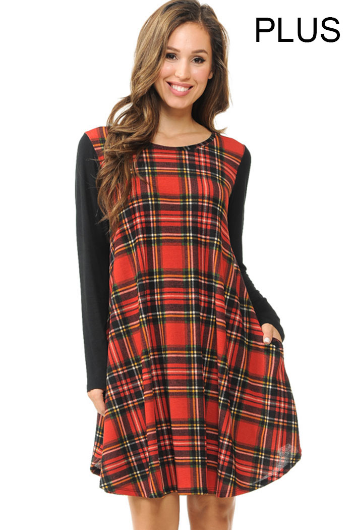 PLUS SOLID SLEEVES PLAID TRAPEZE DRESS