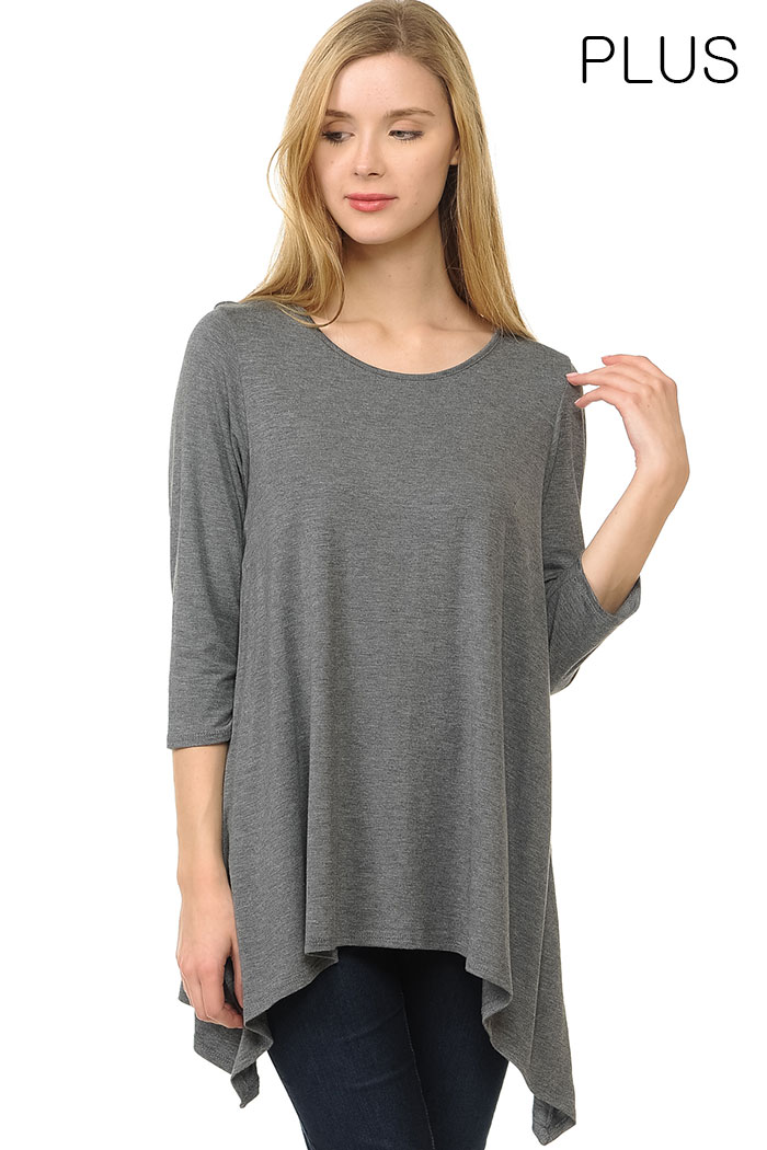 PLUS DRAPING SIDE JERSEY TUNIC TOP