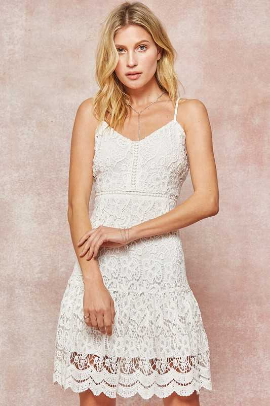 Layered Venetian Lace Fit-and-Flare Mini Dress