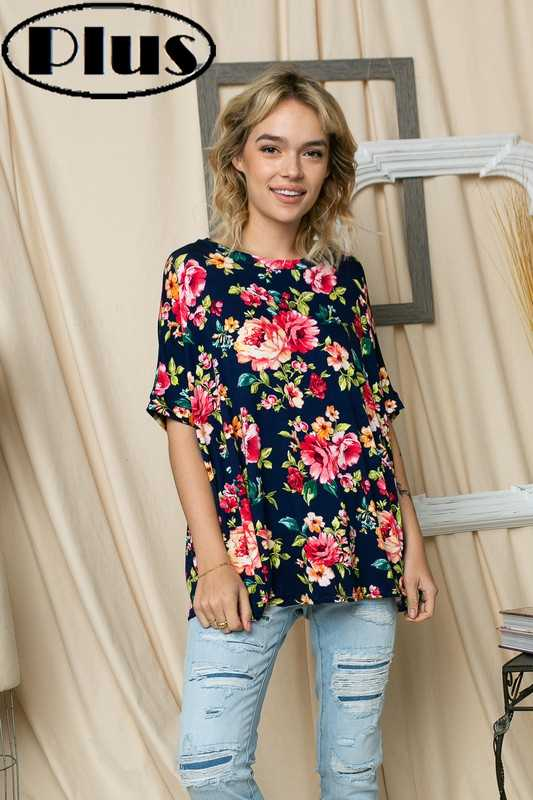 FLORAL PRINT ROUND NECK SHORT SLEEVE BOXY PLUS TOP