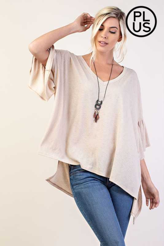 PLUS RUFFLE SLEEVE HI LO TOP