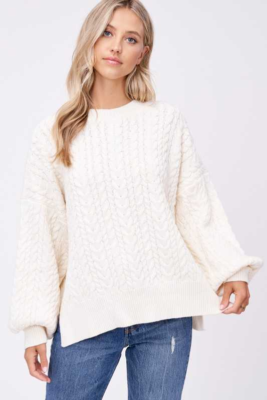 BALLOON SLEEVE CABLE KNIT SWEATER