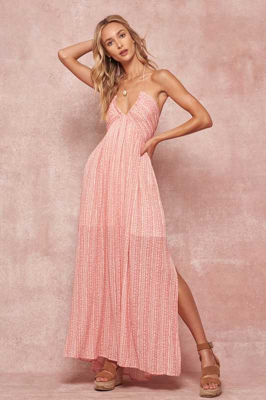 Pattern Stripe Tie-Back Halterneck Maxi Dress