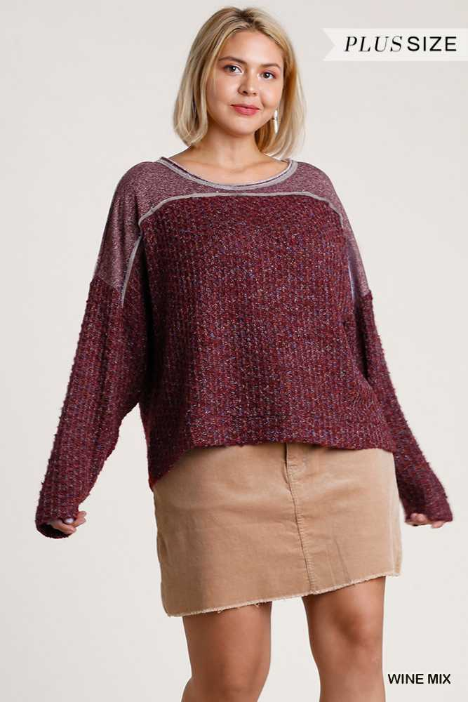 Round Neck Multicolor Cut And  Sew Pullover Sweater