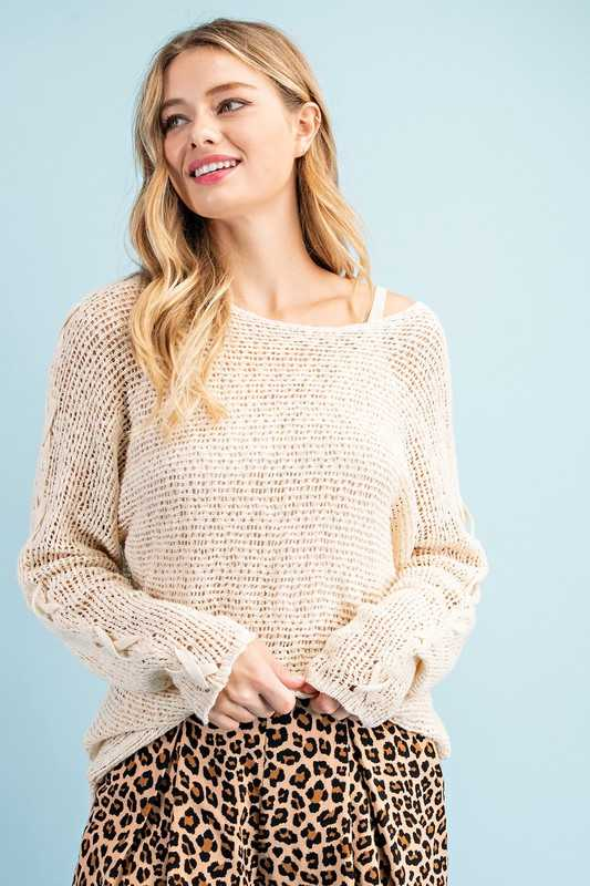 SIDE CROSS TRIM RIBBED SWEATER TOP