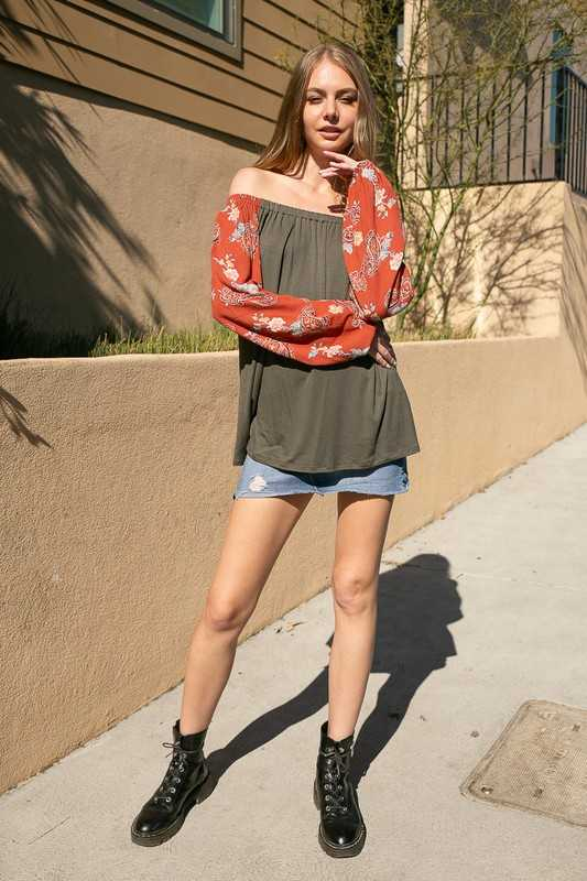 SOLID JERSEY WOVEN PAISLEY MIXED OFF SHOULDER TOP