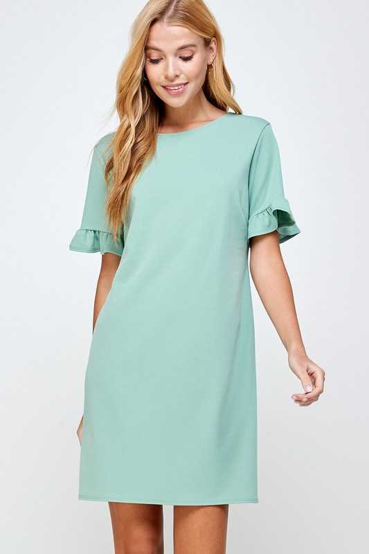Ruffled sleeve v-back shift dress