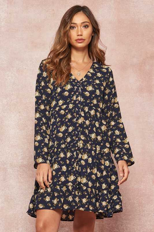 Floral Long-Sleeve Button-Down Babydoll Mini Dress