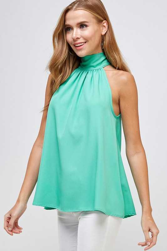High neck bow keyhole tie Halter Top