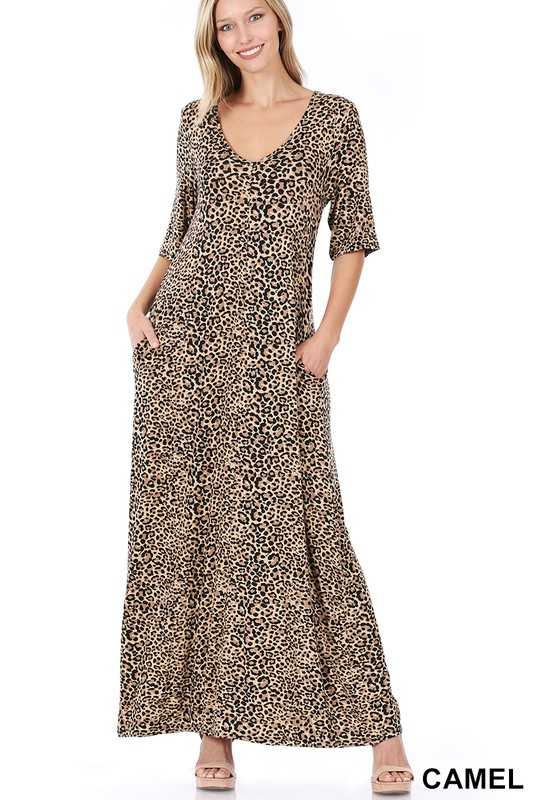 LEOPARD PRINT V-NECK MAXI DRESS WITH SIDE POCKETS