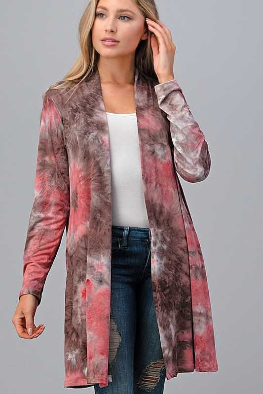 TIE DYE LONG SLEEVE CARDIGAN WITH POCKETS