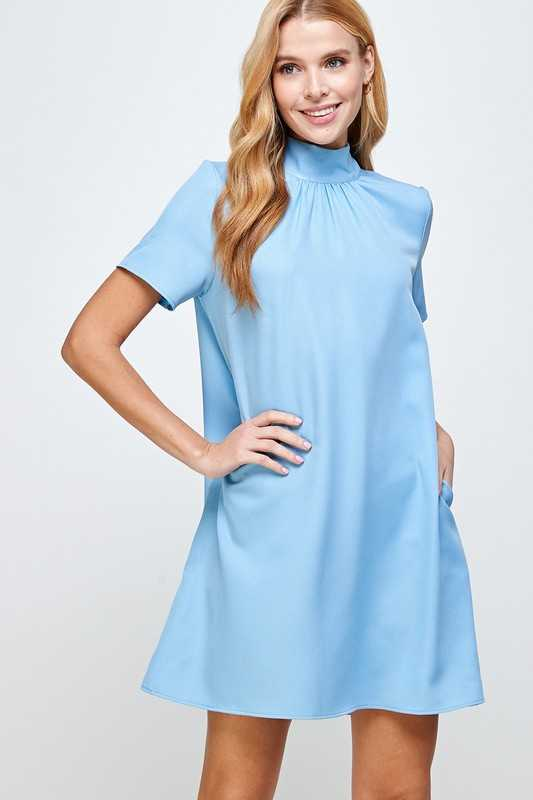 SHORT SLEEVE SHIFT DRESS WITH SHIRRING DETAIL