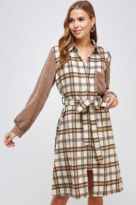 Sweater sleeves mixed brushed plaid shirt dress