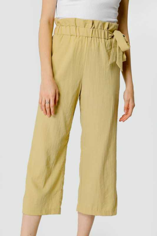 Solid Casual Pants With Waist Tie