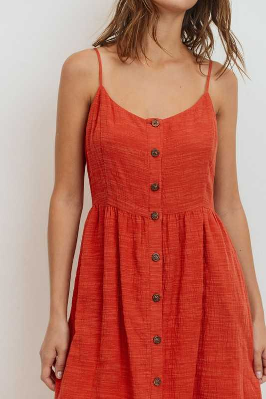 Button Down Spaghetti Strap Sleeveless Dress