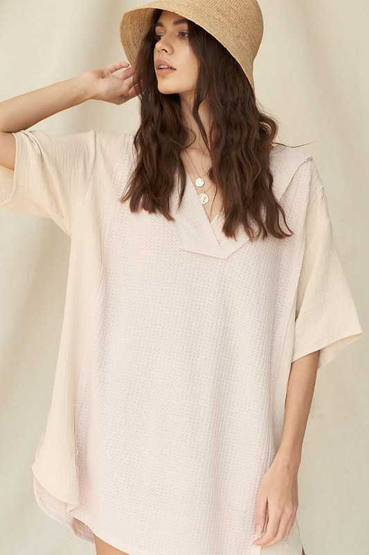 Waffle Knit High-Low Oversize Tunic Shift Dress