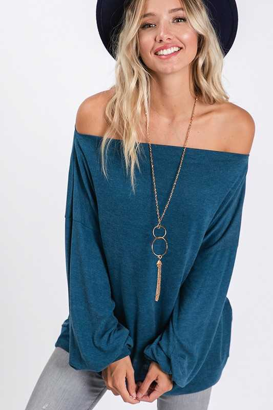 Crew neck or off shoulder bubble sleeves top
