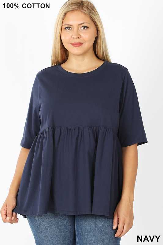 PLUS HALF SLEEVE EMPIRE WAIST SHIRRING TOP