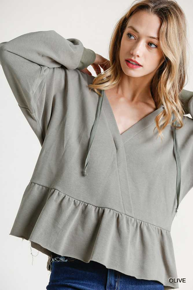 Hoodie with Drawstring V-Neck Ruffle Raw Hem Top