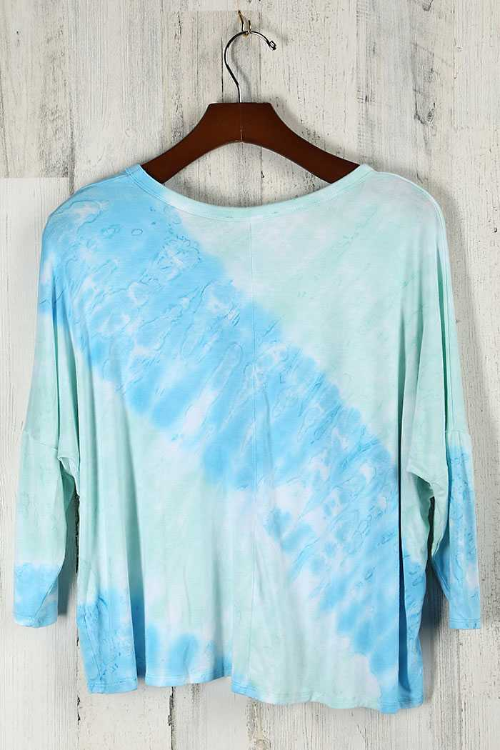 GARMENT TIE DYED DOLMAN SLEEVE CROP TOP