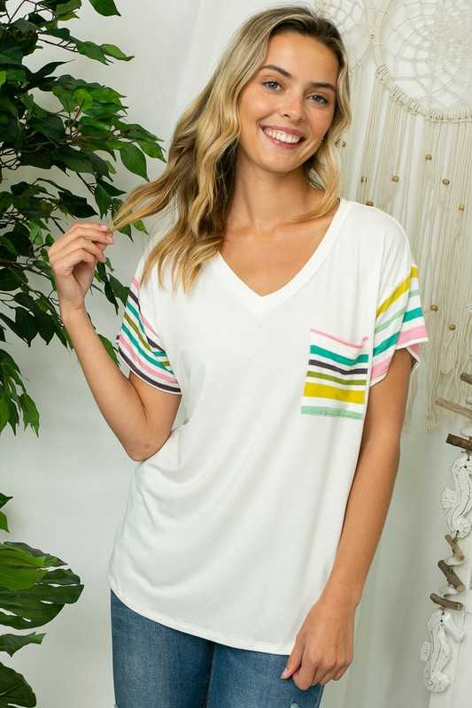 SOLID MULTI STRIPE MIXED FRONT POCKET BOXY TOP
