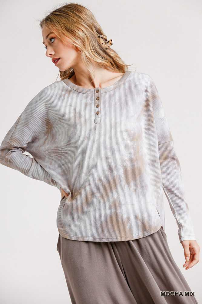 Tie-Dye Round Neck Ribbed Button Front Top