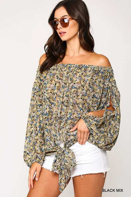 Floral Print Lurex Chiffon Off Shoulder Top